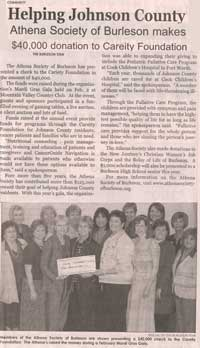 2010 ATHENA Society of Burleson donation to Careity Foundation